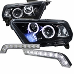 COMBO: Glossy Black Halo LED Projector Headlights + FREE Fog Lights