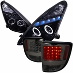 COMBO: Glossy Black Halo LED Projector Headlights + LED Tail Lights