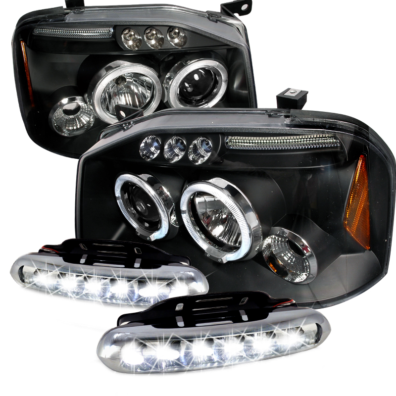 COMBO: 01-04 Nissan Frontier Dual Halo LED Black Projector ...