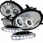 COMBO: LED Halo Chrome Projector Headlights + LED Fog Lights
