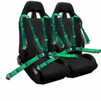 COMBO: Pair of Black Bride Style Racing Seats  + FREE Green 4pt Camlock Harness