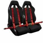 COMBO: Pair of Black Bride Style Racing Seats  + FREE Red 4 Pt Seat Belt Harness