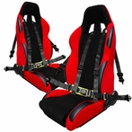 COMBO: Pair of Red Bride Style Racing Seats + FREE 4pt Camlock Harness