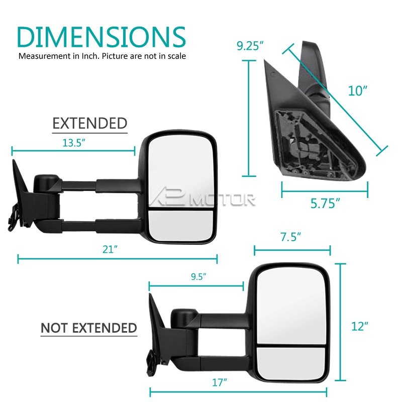 Extending Towing Mirrors With Heat Function Power Inset 4
