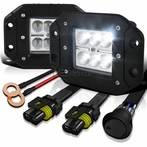Flood Beam Cube Cree-LED Work Fog Lamps + Wiring Kit