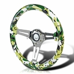Green Camouflage 3-Spoke Wooden Deep Dish Steering Wheel (350mm)