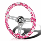 Hawaii Pink Floral 3-Spoke Wooden Deep Dish Steering Wheel (350mm)