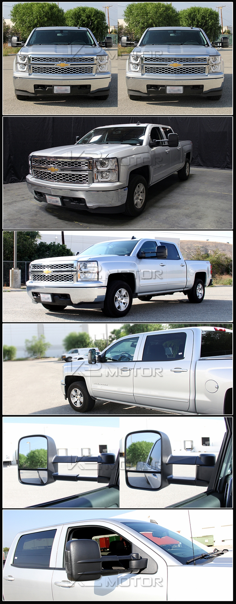 2014 2015 gmc sierra 1500 extending power towing mirrors smoked led. Black Bedroom Furniture Sets. Home Design Ideas