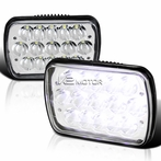 Pair of  7x6 15-LED Chrome Headlights