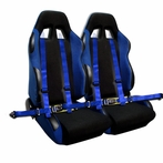 Pair of Bride Style Racing Seats FREE 4pt Harness (Blue)