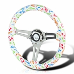 Rainbow Musical Note 3-Spoke Wooden Deep Dish Steering Wheel (350mm)