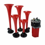 Red Air Horn x5 Musical with Compressor Kit (La Cucaracha)