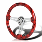 Red Skull 3-Spoke Wooden Deep Dish Steering Wheel (350mm)