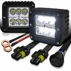 Spot Beam Cube Cree-LED Work Fog Lamps + Wiring Kit