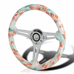 Tiffany Blue Feather 3-Spoke Wooden Deep Dish Steering Wheel (350mm)
