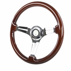 Universal 350Mm Wooden Steering Wheel w/ Chrome Spoke (6-Bolt)