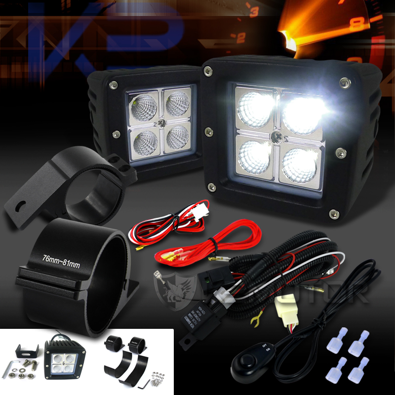 Universal 4-LED Cube Off-Road Fog Lights + Wiring Harness + 3 ... on