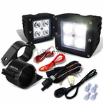 "Universal 4-LED Cube Spot Beam Off-Road Fog Lights + Wiring Harness + 2.5"" Mounting Bracket"