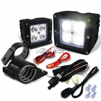 "Universal 4-LED Cube Spot Beam Off-Road Fog Lights + Wiring Harness + 2"" Mounting Bracket"