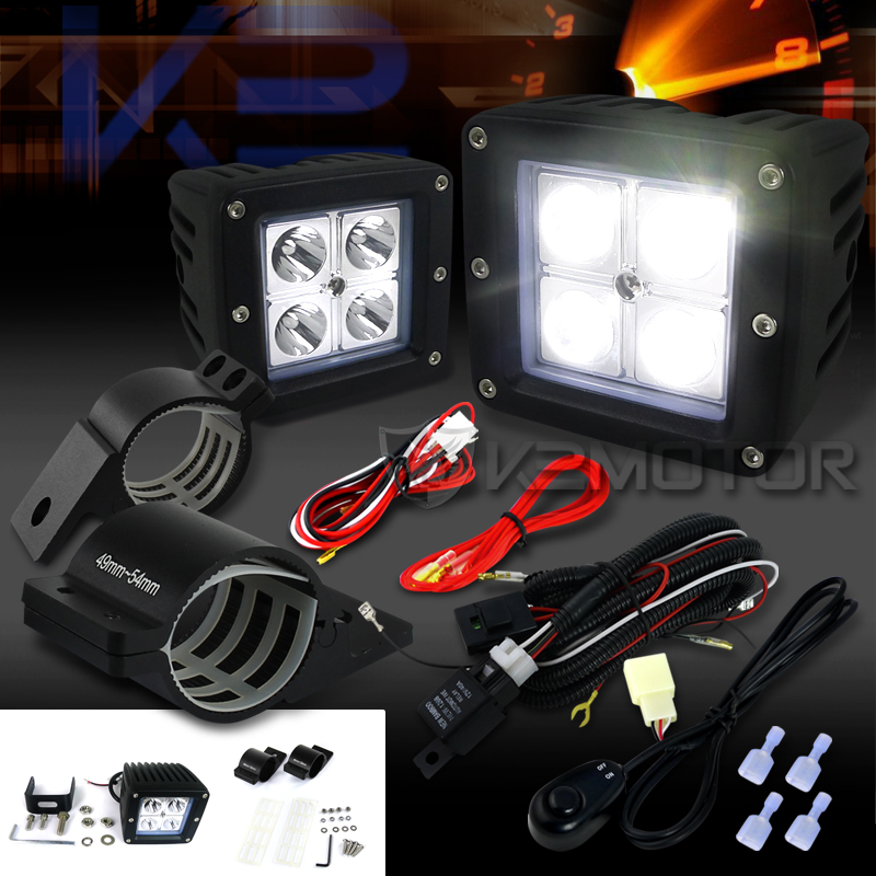 universal 4 led cube spot beam off road fog lights wiring harness  click to enlarge