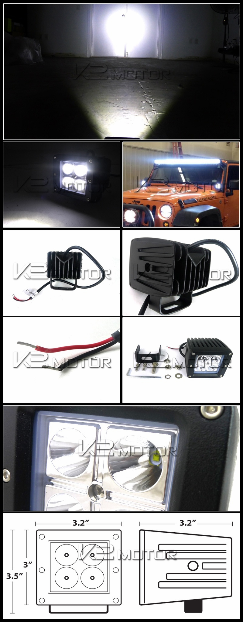 Universal 4 Led Cube Spot Beam Off Road Fog Lights Wiring Harness 2 Mounting Bracket Inset 1