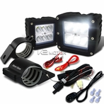 "Universal 6-LED Cube Flood Beam Off-Road Fog Lights + Wiring Harness + 2"" Mounting Bracket"