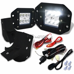 6-LED Flood Beam Off-Road Fog Lights + Wiring Harness + Mounting Brackets