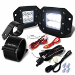 "Universal 6-LED Spot Beam Off-Road Fog Lights + Wiring Harness + 3"" Mounting Bracket"