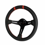 Universal Deep Dish Steering Wheel 320MM (Leather with Red Stitch)