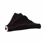Universal Suede JDM Manual Shift Boot Red Stitch (Red with Red Stitching)