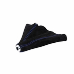 Universal Suede JDM Manual Shift Boot Stitch (Black with Blue Stitching)