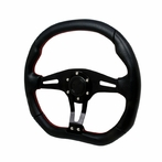 Universal Technic Style Steering Wheel 350Mm  Red Stitches (Black)