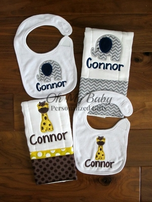 Animal Bib Burp Cloth Set