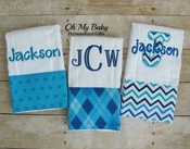 Blue Burp Cloth Set