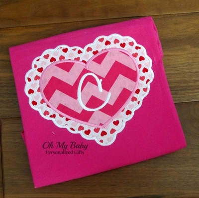 Double Heart Initial Applique