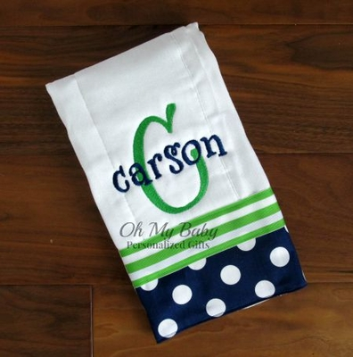 Green and Navy Burp Cloth