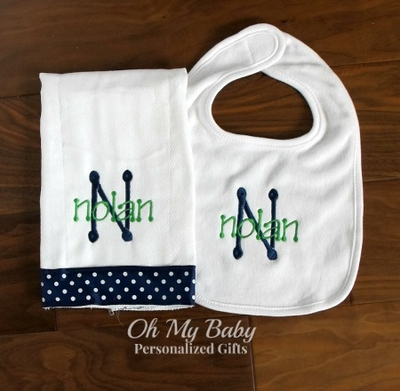 Personalized Bib & Ribbon Burp Cloth Set