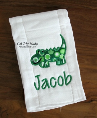 Burp Cloth Alligator Applique