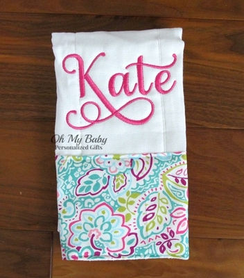 Personalized Burp Cloth - More Fabric Trim