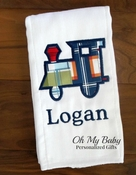 Personalized Burp Cloth - Train Applique