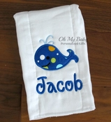 Personalized Burp Cloth - Whale Applique