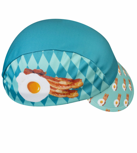 Aero Tech Rush Cycling Caps - Breakfast Time Bacon and Eggs in Blue
