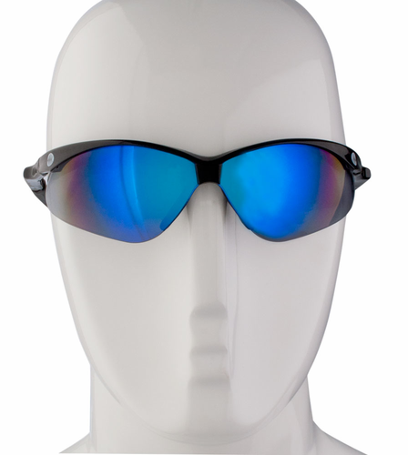 Aero Tech PC Smoke Blue Mirror Wrap Sunglasses