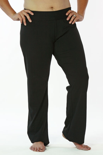 Plus Womens Taffy Fold Over Stretch Pants - Black