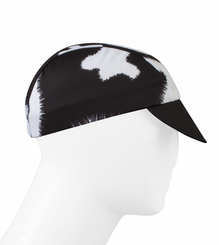 Aero Tech Rush Cycling Caps - Moo!  Cow Print in Black and White