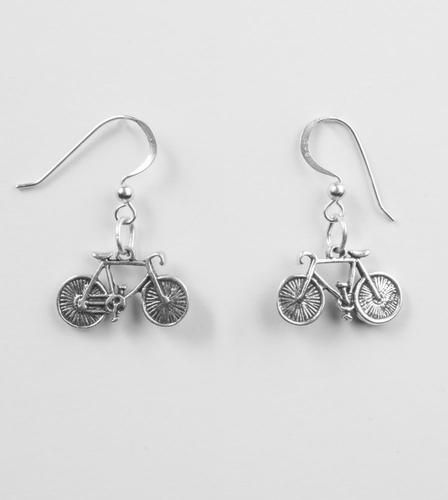 Aero Tech Sterling Silver Bicycle Earrings