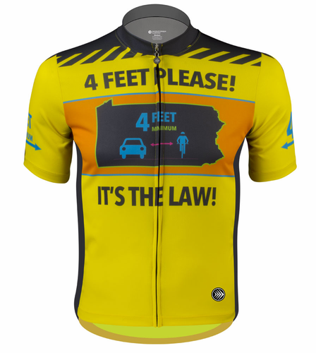 Aero Tech Yellow Cycling Jersey 4 FEET PLEASE - It's the Law! - Sprint Cut