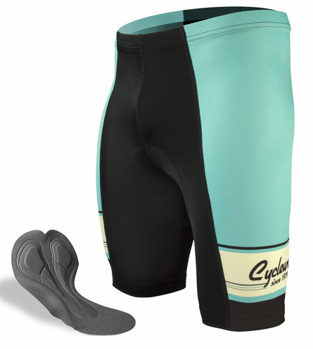 ATD Designer 1979 Retro Active Cyclewear Celeste Green Bike Short