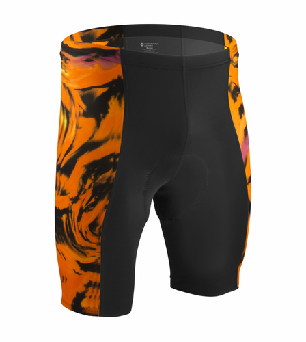 Orange Wave Padded Bike Shorts