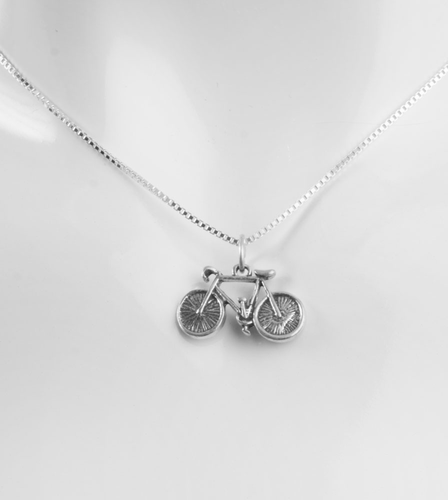 Aero Tech Sterling Silver Bicycle Necklace on 16 inch box chain
